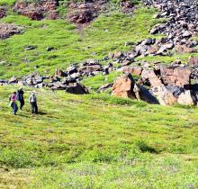 Hiking the tundra on Quadjuk Island
